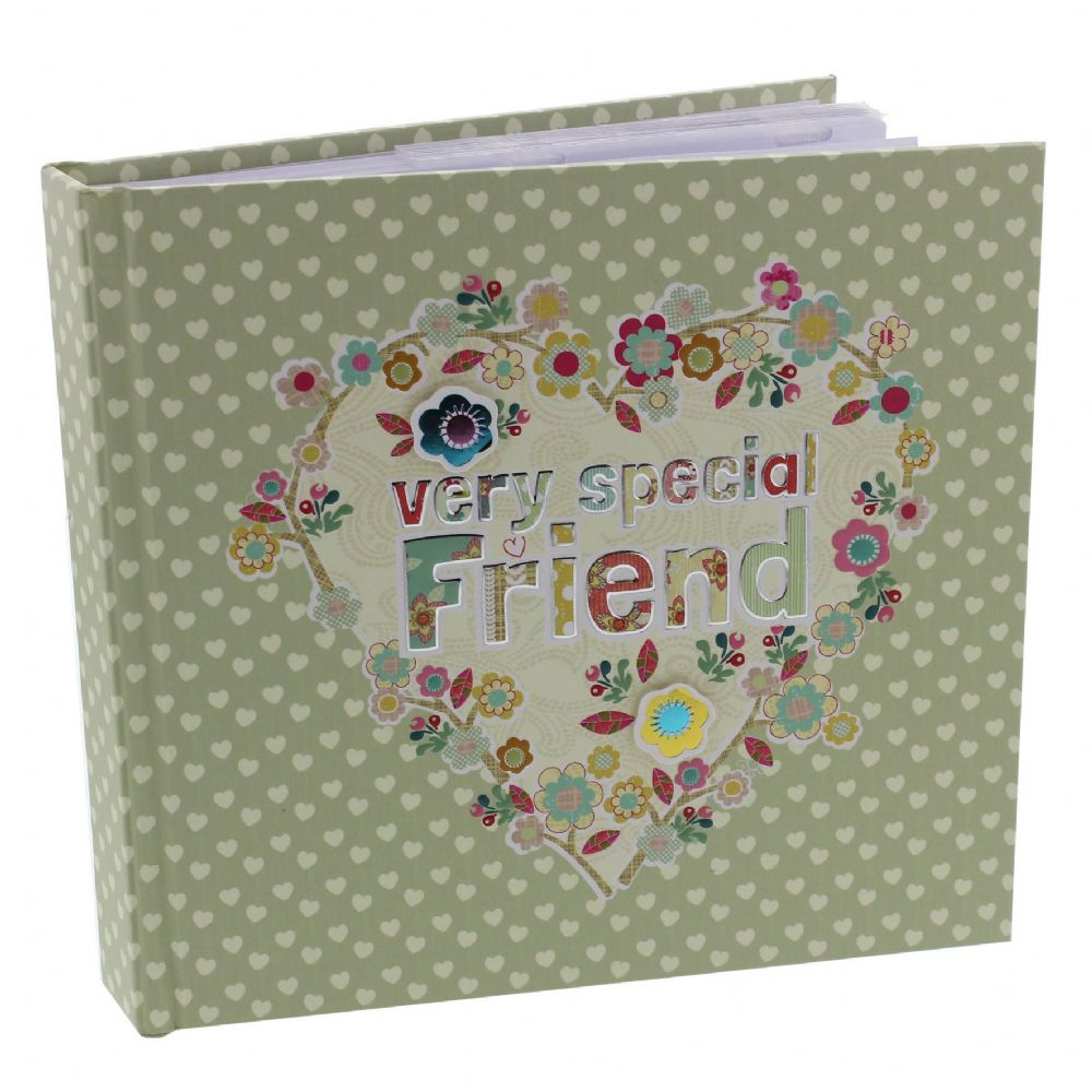 Special Friend Gift - Vintage Look Pale Green Floral Photo Album For Very Special Friend